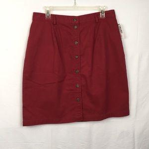 Red Button-down Skirt Bayside Sz 14 short